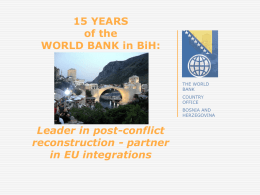 Presentation-WB - Donor Coordination Forum in Bosnia and