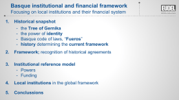 Basque Institutional and Financial Framework