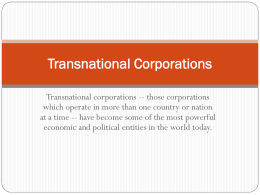 Transnational Corporations - geo