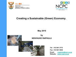 Presentation to Green Economy summit Sandton May 2010