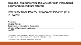 Experience from Poverty Environment Initiative (PEI)