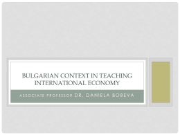 Bulgarian context in teaching international economics
