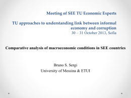 Meeting of SEE TU Economic Experts TU approaches to