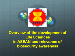 Overview of the development of Life Sciences in ASEAN