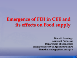 Emergence of FDI in CEE and its effects on Food supply Dimuth