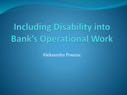 Mainstreaming Disability into Bank*s Work