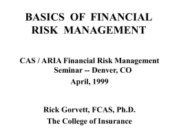 FINANCE 729 FINANCIAL RISK MANAGEMENT