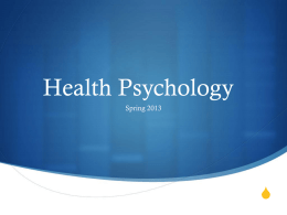 Health Psychology S Spring 2013