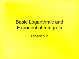 Basic Logarithmic and Exponential Integrals