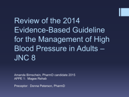 High Blood Pressure in Adults – JNC 8 Review
