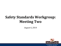 Safety Standards WG Meeting Two