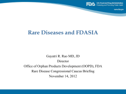 FDASIA - Rare Disease Legislative Advocates