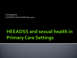 HEEADSS and sexual health in Primary Care Settings