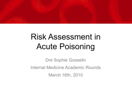 Risk Assessment in Poisoning