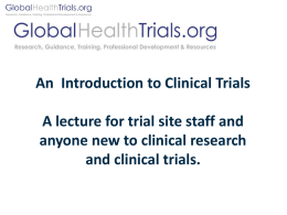Introduction to Clinical Trials and GCP