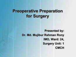 Preoperative Preparation for Surgery