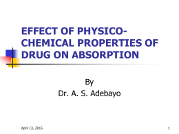 effect of physico-chemical properties of drug on absorption