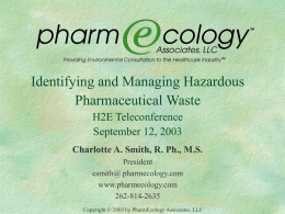 Identifying and Managing Hazardous Pharmaceutical Waste
