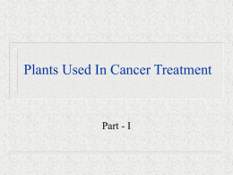 Plants Used In Cancer Treatment