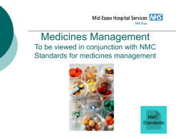 Medicines Management To be viewed in conjunction with NMC