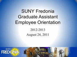 SUNY Fredonia New Employee Orientation