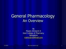General Pharmacology An Overview
