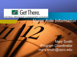 Nurse Aide Information - Central Piedmont Community College