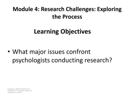 Module 4: Research Challenges: Exploring the Process