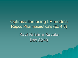 Optimization using LP models Repco Pharmaceuticals (Ex 4.6)
