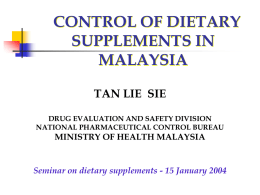 MALAYSIA: PRODUCT REGISTRATION AND REGULATION
