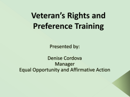 Veteran 's Rights and Preference Training