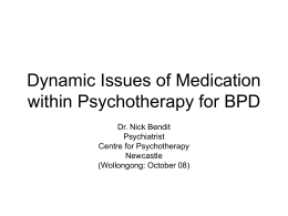 Dynamic Issues of Medication within Psychotherapy for BPD