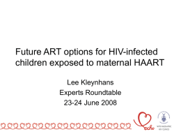 Future ART options for HIV-infected children exposed to