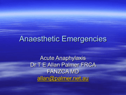 Anaesthetic Emergencies