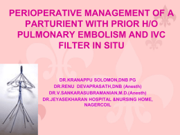 PERIOPERATIVE MANAGEMENT OF A PARTURIENT WITH …