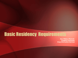 Basic Residency Requirements