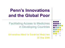 Penn's Innovations and the Global Poor