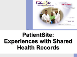 PatientSite: Experiences with Shared Health Records