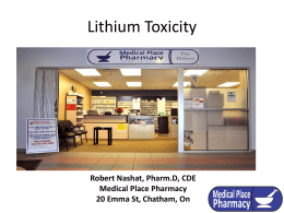 Lithium Toxicity - Medical Place Pharmacy Chatham