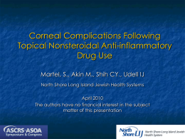 Corneal Complications Following Topical Nonsteroidal Anti