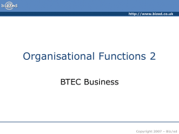 Organisational Functions 2 - PowerPoint Presentation