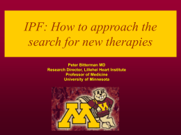 IPF: How to approach the search for new therapies
