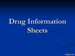 Drug Information Sheets - Sapp's Instructional Websites