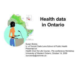 Health data in Ontario
