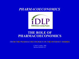 PHARMACOECONOMICS ON THE INTERNET