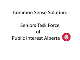 Common Sense Solution: Seniors Task Force of Public