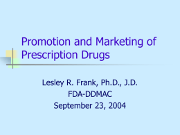 Promotion and Marketing of Prescription Drugs