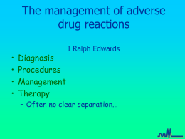 The management of adverse drug reactions