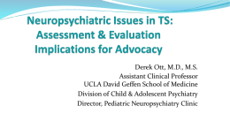 Neurosychiatric Issues in TSC