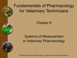 Chapter 6 - Systems of Measurement in Veterinary Pharmacology